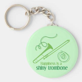 La felicidad es un Trombone brillante Llavero Redondo Tipo Pin