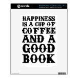 La felicidad es una taza de café y de un buen libr calcomanía para NOOK