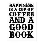 La felicidad es una taza de café y de un buen libr tarjeta postal