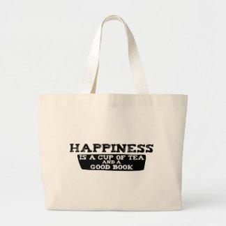 La felicidad es una taza de té y de un buen libro bolsa tela grande