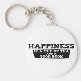 La felicidad es una taza de té y de un buen libro llavero redondo tipo pin