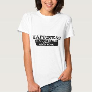 La felicidad es una taza de té y de un buen libro playeras