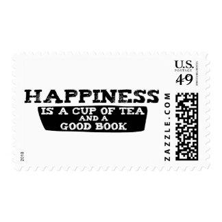 La felicidad es una taza de té y de un buen libro sellos postales