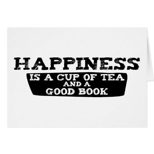 La felicidad es una taza de té y de un buen libro tarjetón