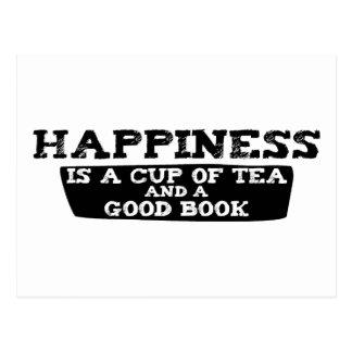 La felicidad es una taza de té y de un buen libro tarjeta postal