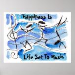 """La """"felicidad es vida fijada las notas felices del impresiones"""