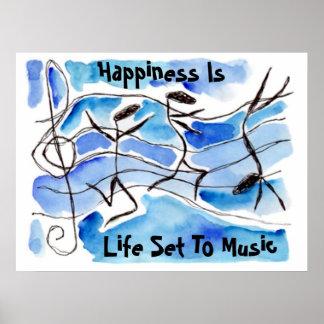 """La """"felicidad es vida fijada las notas felices del póster"""