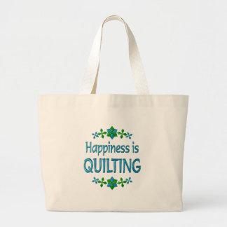 La felicidad está acolchando bolsa tela grande