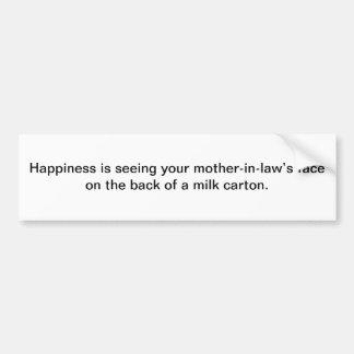 La felicidad está considerando - pegatina para el  pegatina de parachoque
