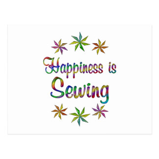 La felicidad está cosiendo tarjetas postales