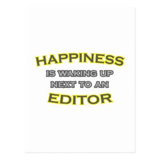 La felicidad está despertando al lado de un postal
