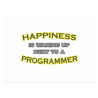 La felicidad está despertando. Programador Tarjeta Postal
