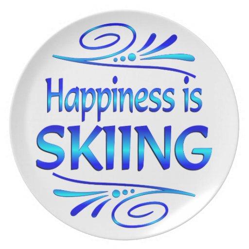 La felicidad ESTÁ ESQUIANDO Platos De Comidas