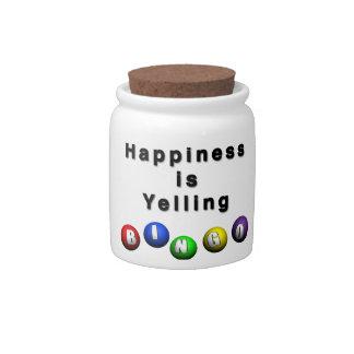 La felicidad está gritando BINGO Platos Para Caramelos