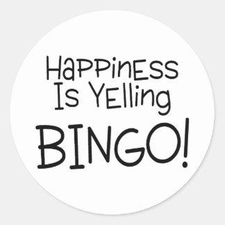 La felicidad está gritando bingo pegatina redonda