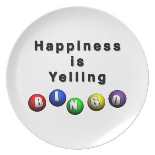 La felicidad está gritando BINGO Platos De Comidas