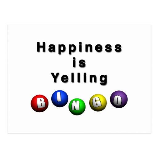 La felicidad está gritando BINGO Tarjeta Postal