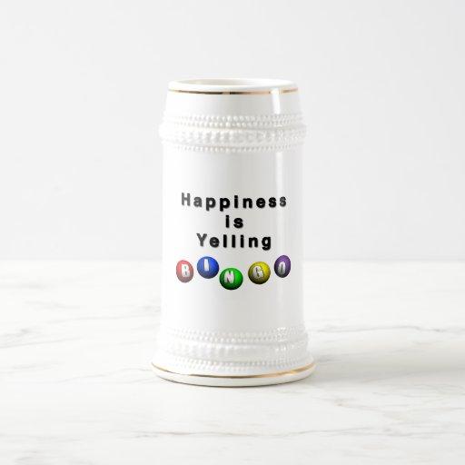 La felicidad está gritando BINGO Taza De Café