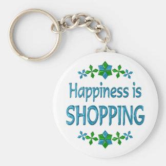La felicidad está haciendo compras llavero redondo tipo pin