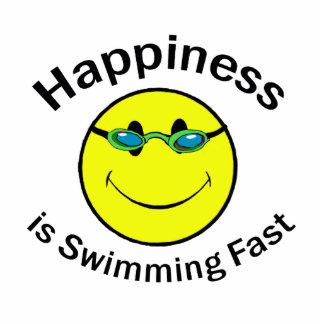 La felicidad está nadando rápidamente esculturas fotográficas