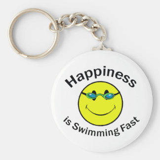 La felicidad está nadando rápidamente llavero redondo tipo pin