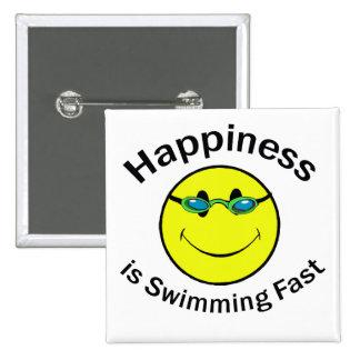 La felicidad está nadando rápidamente pin cuadrada 5 cm