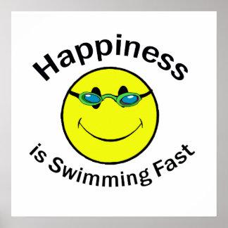 La felicidad está nadando rápidamente póster
