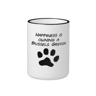 La felicidad está poseyendo una Bruselas Griffon Taza A Dos Colores