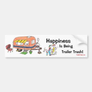 La felicidad está siendo basura del remolque etiqueta de parachoque