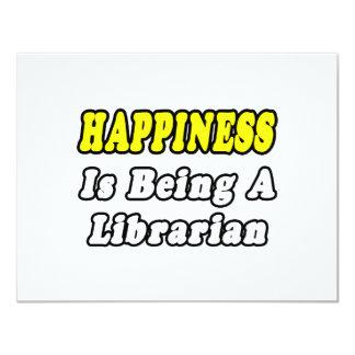 """La felicidad está siendo bibliotecario invitación 4.25"""" x 5.5"""""""