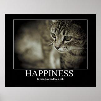 La felicidad está siendo poseída por un gato póster