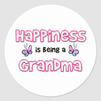 La felicidad está siendo una abuela pegatina redonda