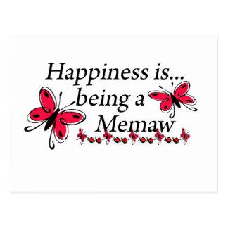La felicidad está siendo una MARIPOSA de Memaw Tarjeta Postal