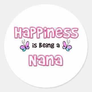 La felicidad está siendo una Nana Pegatina Redonda