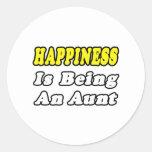 La felicidad está siendo una tía pegatina redonda
