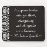 La felicidad Gandhi cita Mousepad