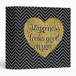 """La felicidad mira el buen negro Chevron del Carpeta 1 1/2"""""""
