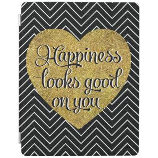 La felicidad mira el buen negro Chevron del Cover De iPad