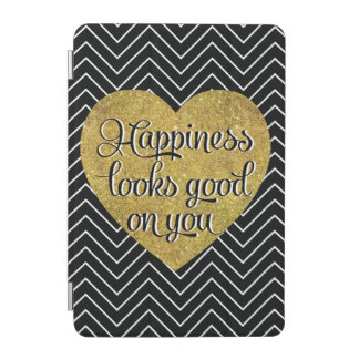 La felicidad mira el buen negro Chevron del Cubierta De iPad Mini