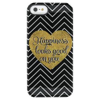 La felicidad mira el buen negro Chevron del Funda Clearly™ Deflector Para iPhone 5 De Uncommon