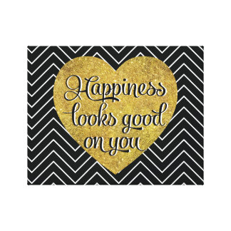 La felicidad mira el buen negro Chevron del Impresiones En Lienzo Estiradas
