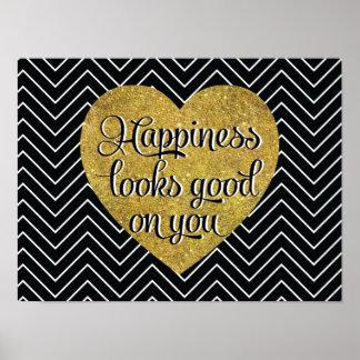 La felicidad mira el buen negro Chevron del Póster