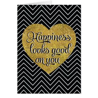 La felicidad mira el buen negro Chevron del Tarjeta De Felicitación