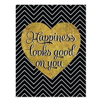 La felicidad mira el buen negro Chevron del Tarjetas Postales