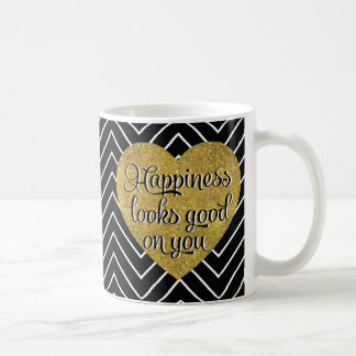 La felicidad mira el buen negro Chevron del Taza Clásica