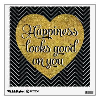 La felicidad mira el buen negro Chevron del Vinilo Decorativo