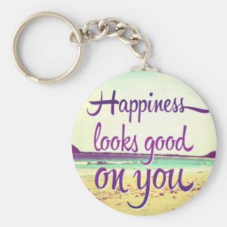 La felicidad parece buena en usted llavero redondo tipo pin