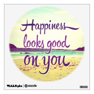 La felicidad parece buena en usted vinilo decorativo