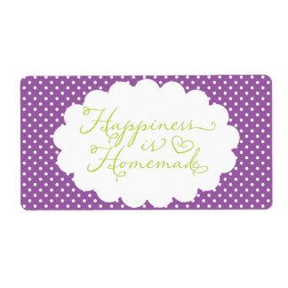 La felicidad púrpura del lunar es hecha en casa etiqueta de envío