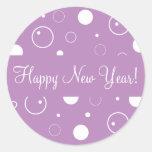 La Feliz Año Nuevo burbujea sello del pegatina del